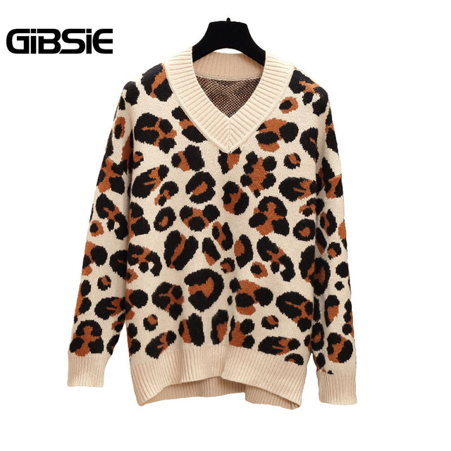 9ef3554ce3c3 GIBSIE Leopard print V-Neck Knitted Sweater Women Autumn Winter Casual  Pullovers Jumper XXXL 4XL Plus Size Women's Clothing