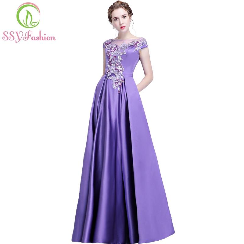 SSYFashion New Purple Satin Flower Evening Dress The Bride Banquet Elegant Appliques Floor length Prom Party