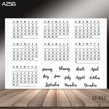 AZSG Simple style calendar Clear Stamps/Seal For Scrapbooking/Card Making/Album Decorative Rubber Stamp DIY Crafts(China)