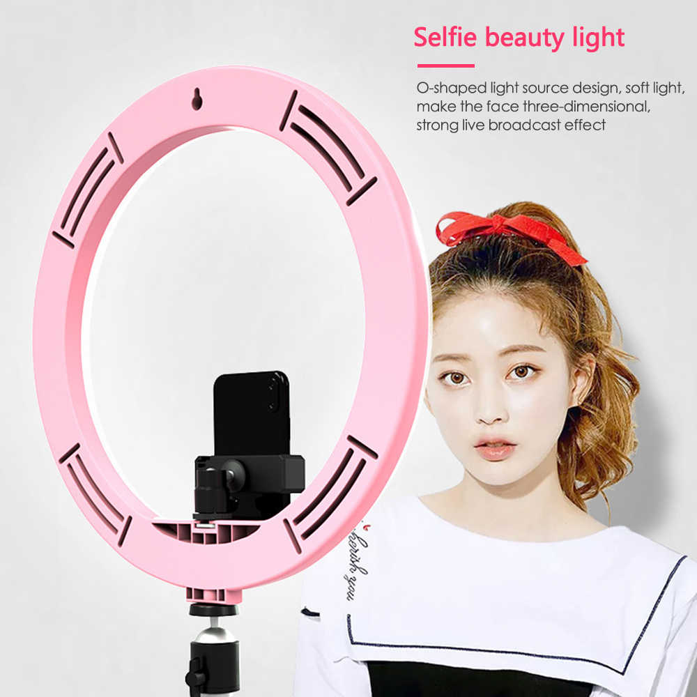 "12"" 160 Led Ring Light Fill Light Mobile Phone Enhanced Photography Live Light Dimmable 5500K Beauty Self-timer Phone Bracket"