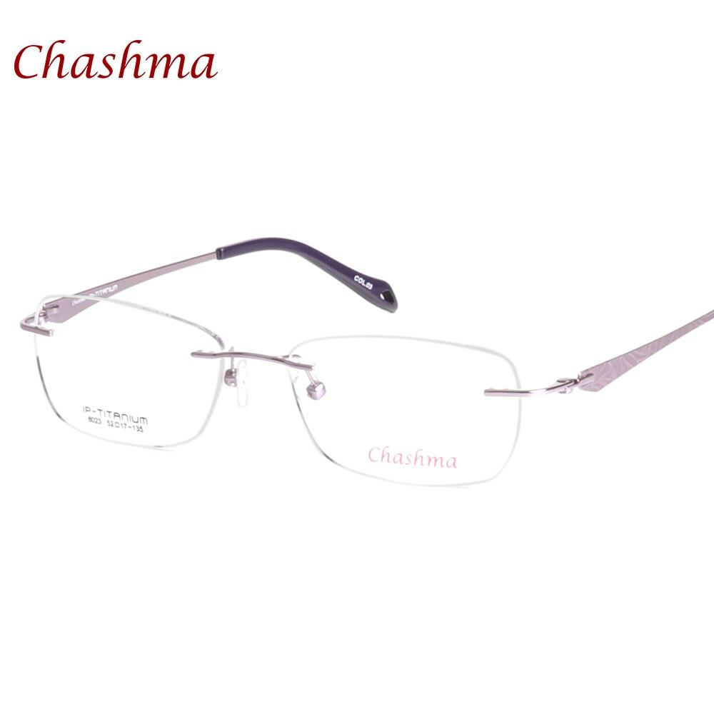 Chashma Brand Eyewear Quality Eyeglasses Female Pure Titanium Glasses Frames Light Rimless Optical Eyeglass Women