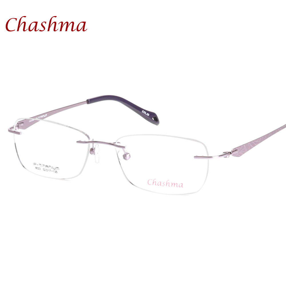 armacao de oculos Eyeglasses Female Pure Titanium Glasses Frames Light Rimless Optical Eyeglass Frames Women image