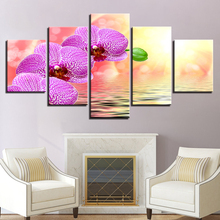 Landscape Picture HD Printed Decor Room Wall 5 Pieces Water And Purple Flower Sunshine Painting Framed Art Modular Canvas Poster