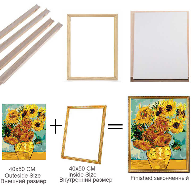 paint by number frame of inner wooden frame and outer PEE outer frame,Factory store direct sales use picture by number 40x50cm