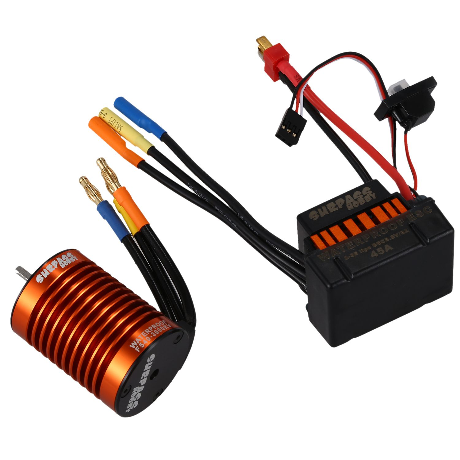 SURPASS HOBBY Upgrade Waterproof F540 3000KV Brushless Motor with 45A ESC Combo Set for 1/10 RC Car surpass hobby upgrade waterproof 3650 3900kv rc brushless motor with 60a esc combo set for 1 10 rc car truck motor kit