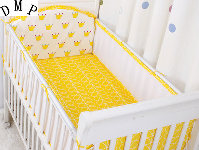 Promotion! 5PCS Mesh Baby Bedding Set 100% Cotton Reactive Printing Crib Bedding Set Bed Cot Set,include(4bumpers+sheet)