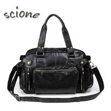 2017 High Quality Leather Sports Bag Men Handbags Gym Cowhide Men Gym Bag Men's Travel Bags Laptop Briefcase Bag for Man