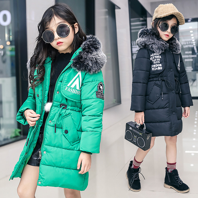 2018 Girls Winter Coat Kids Clothes Faux Fur Hooded Long Cotton Down Jacket Thick Warm Parka Children Casual Outerwear Fashion real fox fur warm hooded padded jacket women solid color casual manteau femme hiver medium long parka slim coat cotton tt3461