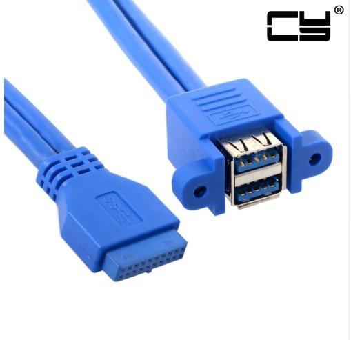 USB 3,0 Женский панельный тип с двумя портами для материнской платы 20Pin Header Штабелируемый удлинитель Кабель-адаптер конвертер 50 см