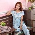 2017 Весной и Летом Осенью Feminino Женщины Pijamas Pijama Пижамы Принцесса 100% Хлопка С Коротким рукавом Гостиная Цветочные Пижамы Набор