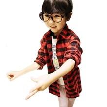 2-7Y Children Kids Boys Girls Shirts Long Sleeve Shirts Plaids Checks Tops Costume Shirt