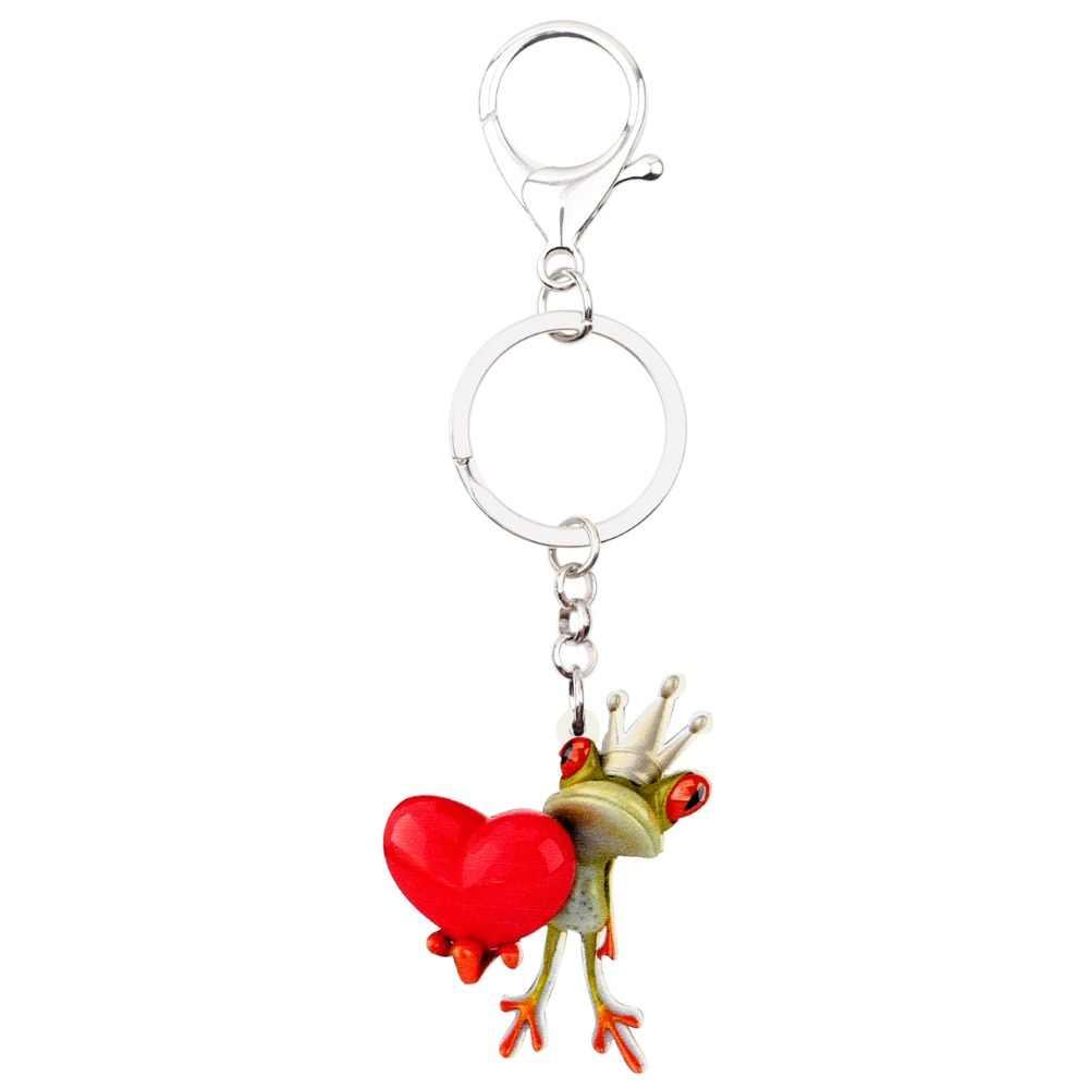 Bonsny акриловые принц-Лягушка, корона, сердце, брелоки, брелоки, кольца, держатель, милые животные, ювелирные изделия для женщин, девушек, сумка, автомобильные брелоки, подарок