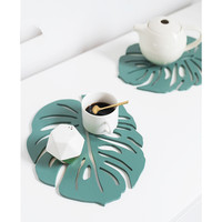 Nordic Style Wood Placemats Creative Green Leaf Shape Heat Insulated Pad Eco Natural Bowls/Pots Holder Cup Coasters Table Decor