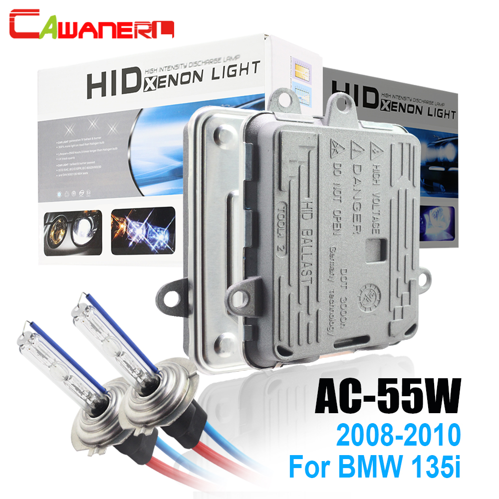 Cawanerl 55W Conversion AC HID Xenon Kit Ballast Lamp 3000K-8000K 12V Car Light Accessories Headlight For BMW 135i 2008-2010 free shipping 55w xenon hid kit lamp aluminum shell ballast 3000k 15000k dc car head light headlight for vw passat 2002 2010