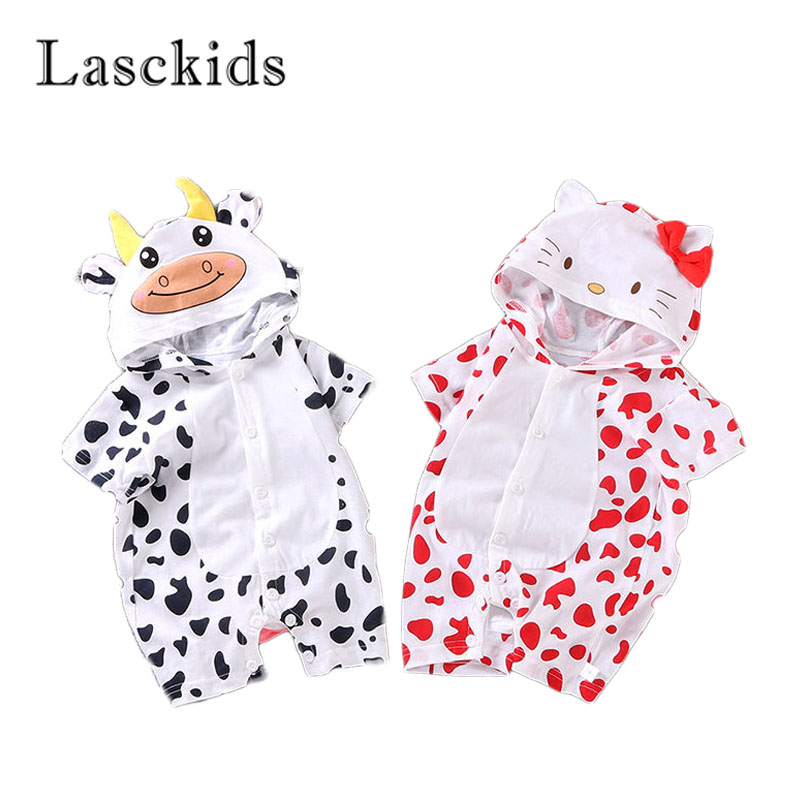 Lasckids Cute Animal Hoody Baby Girl Jumpsuit Romper Bebes Clothes Summer Short Sleeve Thin Bebe Overalls Boy Rompers Clothing