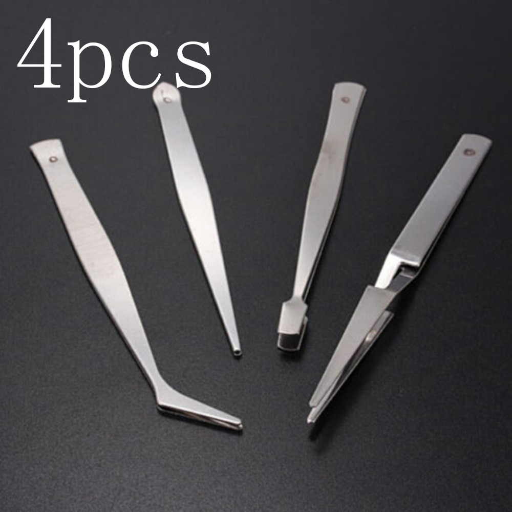 4pcs/lot Precision Tweezers Set Stainless Steel Anti-static Tweezers Repair Tool For Jewelry Making Diy Accessories