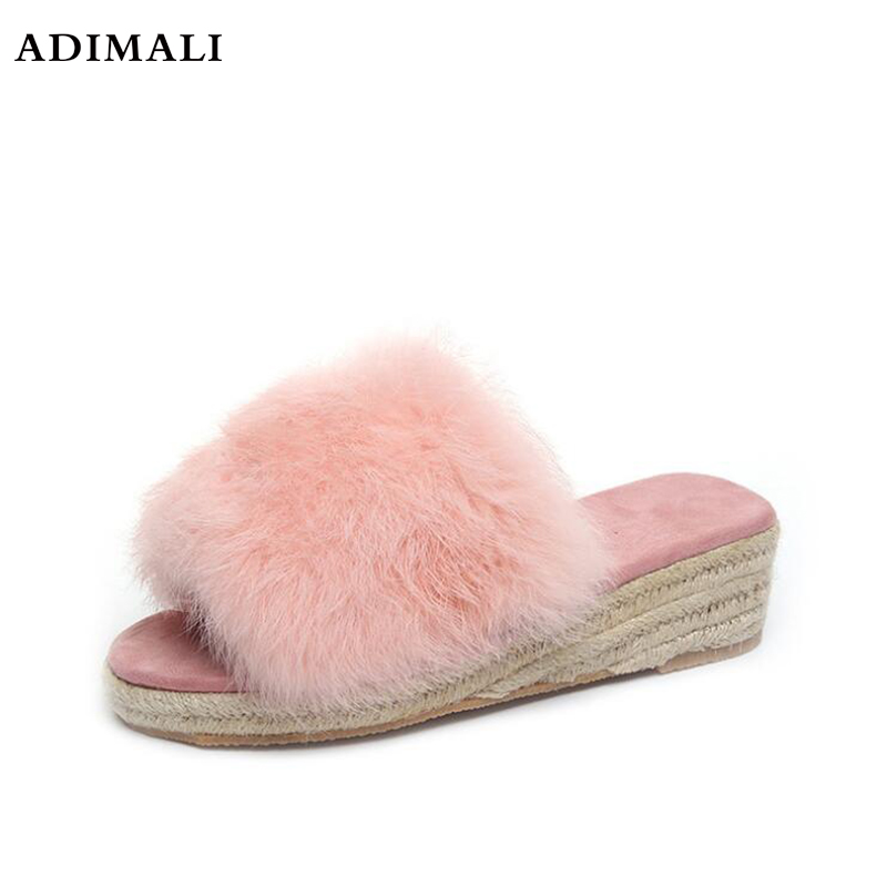 Neue Casual Slipper Flip Flop Sandale Frauen Hausschuhe Zapatos Mujer Damen Slip Auf Sliders Flauschigen Faux Pelz Flache Größe