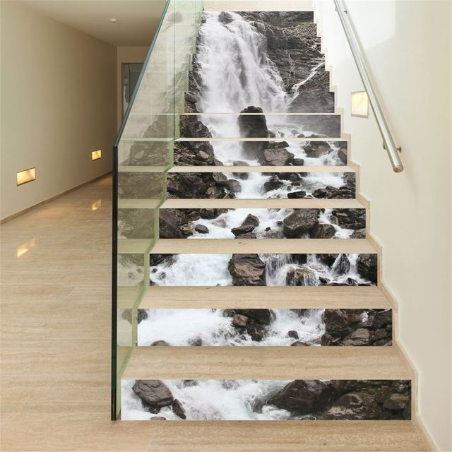 3d stair sticker waterfall 13pcs set pvc decoration photo mural vinyl decal poster waterproof for