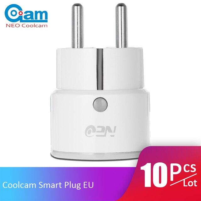 10 unids/lote Coolcam UE enchufe inteligente para Alexa de Amazon, Google a casa IFTTT Control remoto WiFi interruptor Mini toma de corriente función de distribución