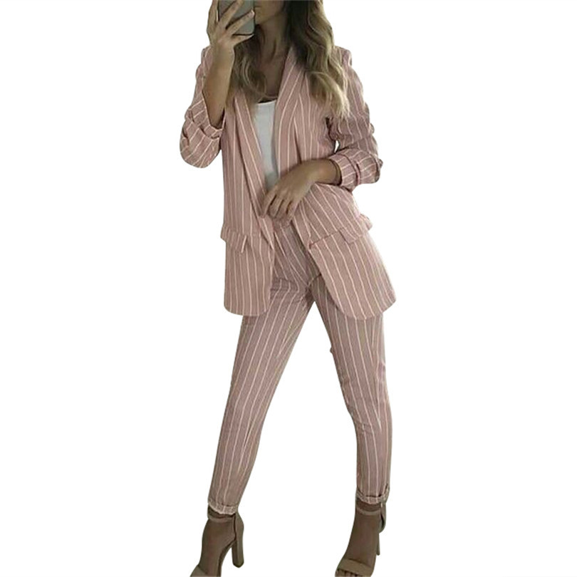 MVGIRLRU Office Lady Pants Suit Striped 2 Piece Set Women Buttonless Lined Blazer Jacket With Straight Pant Suits