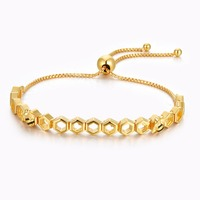 Golden Plated Honeybee Shine Charm Bracelets for Women 2018 New Fashion Silver 925 Jewelry Girls Fine Chain Bracelets