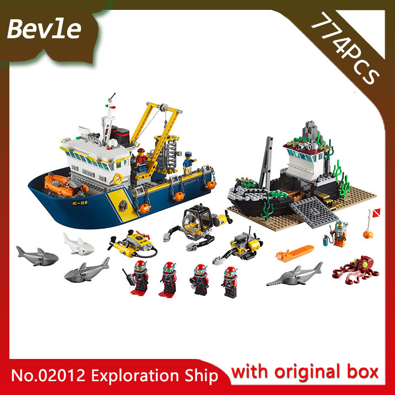 Original box Bevle Store LEPIN 02012 774Pcs CITY Series  Exploration ship Model Building set Bricks Blocks Children Toys 60095 lepin 02012 city deepwater exploration vessel 60095 building blocks policeman toys children compatible with lego gift kid sets