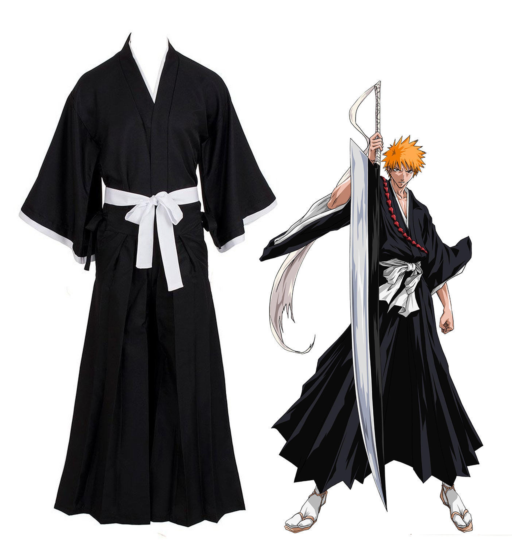 Bleach kurosaki ichigo robe cloak coat japanese anime cosplay halloween costume on aliexpress com alibaba group
