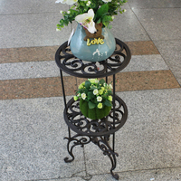 Kwiat Stojak Okrągły Żeliwo Kwiat Tabeli Rozmiar Duży, D28cm dla Kwiatów i Deco w Domu lub w Ogrodzie, stojak dla Roślin, brązowy