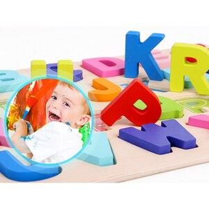Image 5 - ABC פאזל דיגיטלי צעצועי עץ למידה מוקדמת פאזל מכתב אלפבית מספר פאזל בגיל הרך חינוך תינוק צעצועים לילדים