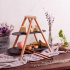 European cake rack solid wood natural slate plate rack double fruit plate West point tray snack plate dessert table