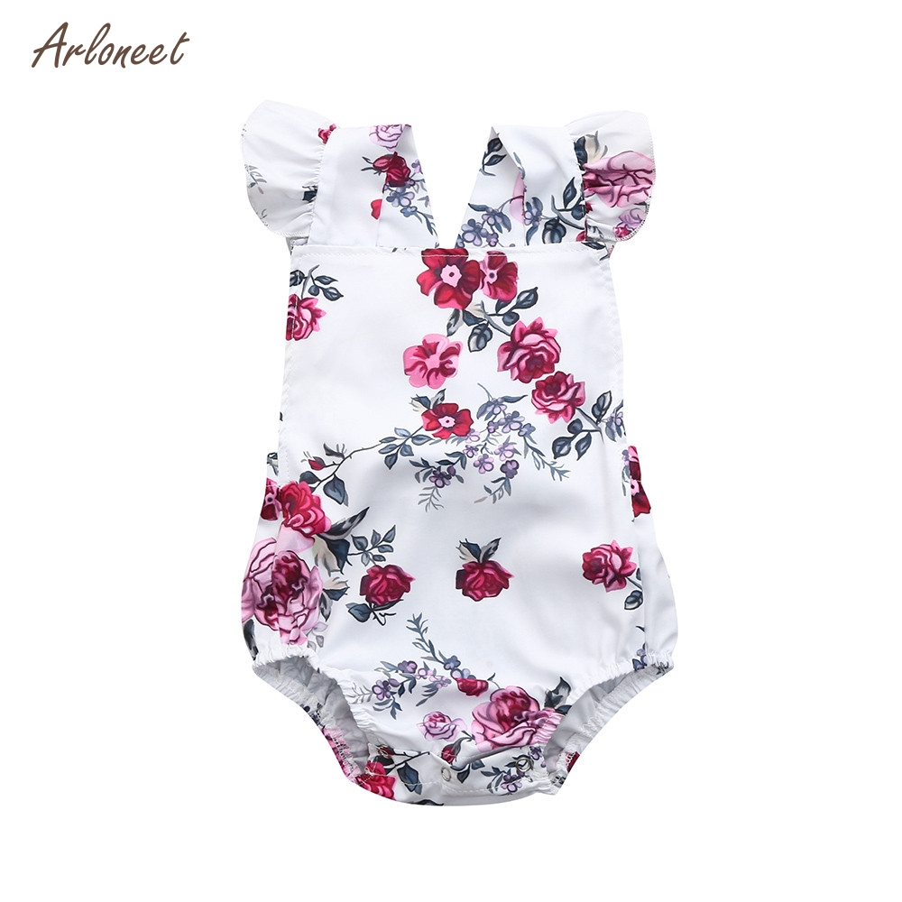 ARLONEET Newborn Infant Baby Girls Romper Boys Floral Print Ruffle Jumpsuit Outfits 2018 HOT Dropshipping _E10