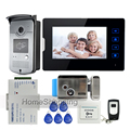 "New 7"" Touch Screen Video Door Phone Intercom Kit + 1 RFID Access Door Camera + 1 Monitor + Electric Control Lock  Free Shipping"