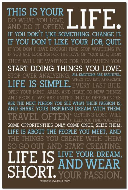 NICOLESHENTING This Is Your Life Motivational Quote Education Art Best This Is Your Life Quote Poster