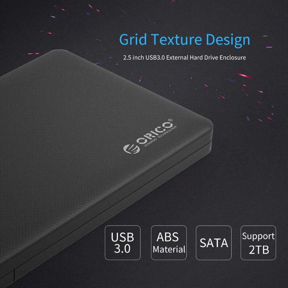 "ORICO Hard Disk Box Enclosure 2.5"" USB 3.0 SATA HDD Box HDD Hard Disk Drive External HDD Enclosure Black Case"