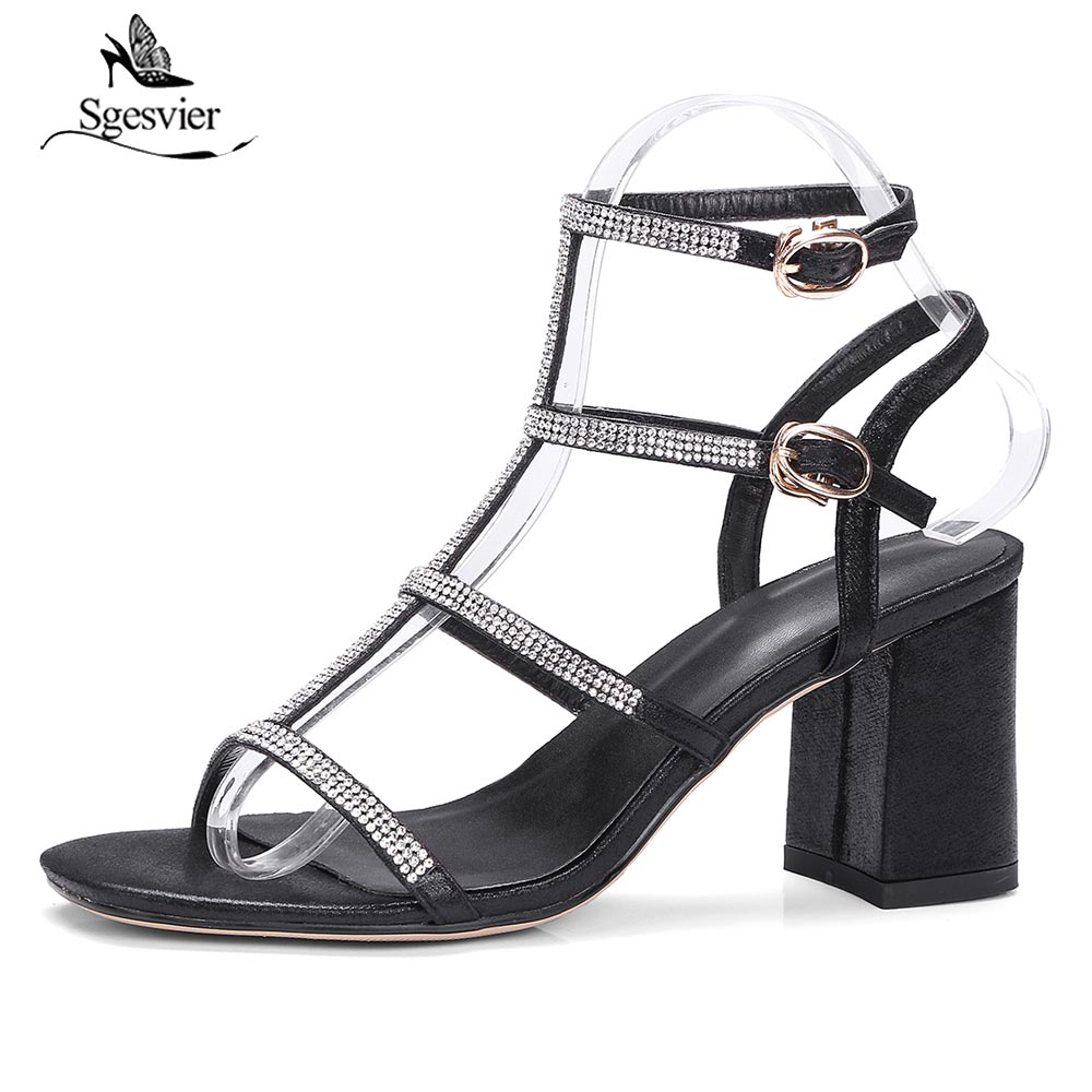 dae698b9789d Sgesvier Women Thick High Heel Stilettos 2018 New Summer Peep Toe Sandals  Black Silver Bridesmaid Bridal Wedding Shoes B302-in High Heels from Shoes  on ...