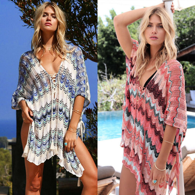 Sexy Bikini Crochet Cover Up 2019 Women Summer Striped Knit Swimwear Beach Bathing V Neck Casual Loose Cover Up Hot(China)