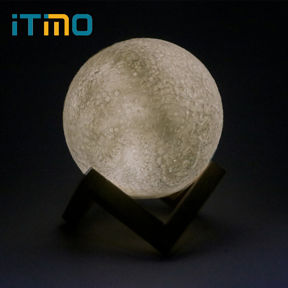 ITimo Table Desk Lamp Novelty Lighting Creative Gift Rechargeable 3D Moon Night Light Moon Lamp Bedroom Home Decoration Lighting