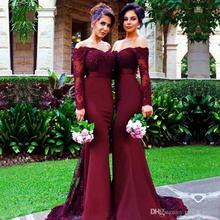 Burgundy Long Sleeve Mermaid Bridesmaid Dress 2017 Cheap Arabic Vintage Lace Sheer Beaded Sequin Vestido De Festa  BD125