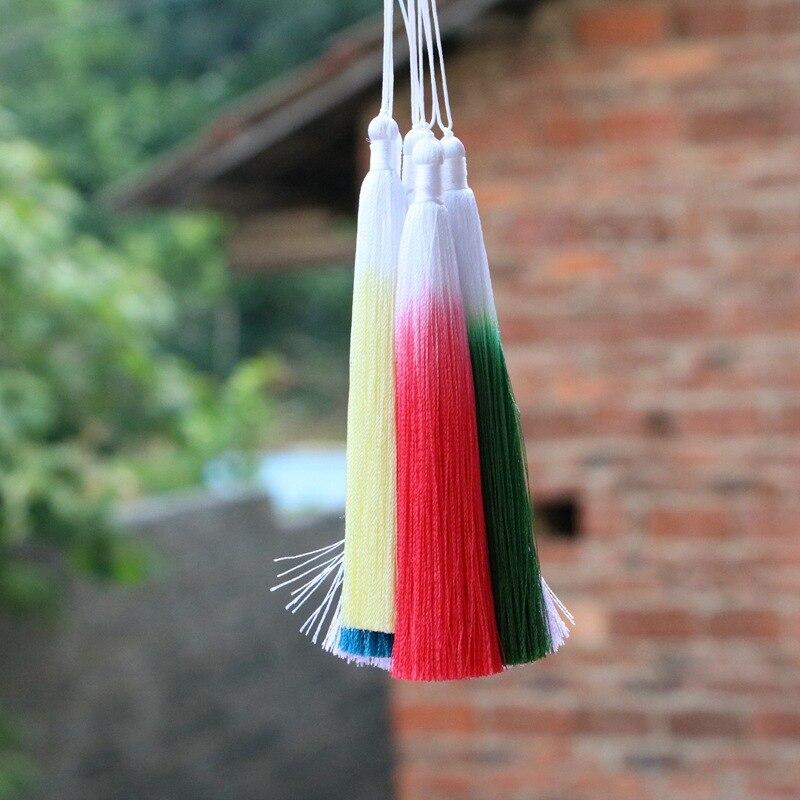 12pcs/lot Gradient color Silk fringe tassel trim decorative sewing bang pendant tassels for curtains home decoration accessories