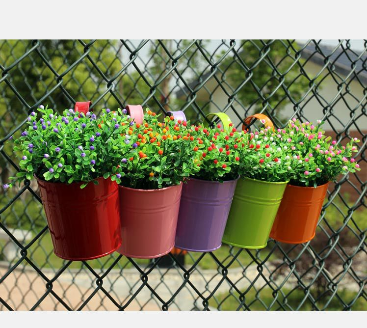 1pcs unique design iron hanging flower pots garden plant hanging barrels pastoral balcony decor multicolors 7