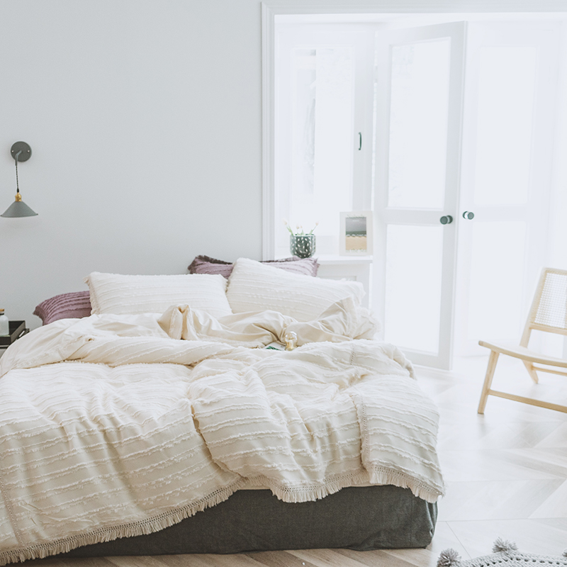 100 cotton tassel Cream color Korean bedding set luxury queen king size duvet cover bed sheet