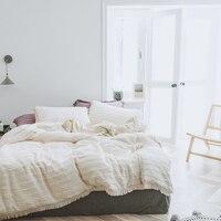 100% algodón borla color crema ropa de cama coreana juego de cama de lujo queen king size edredón sábana juego de sábanas de lit
