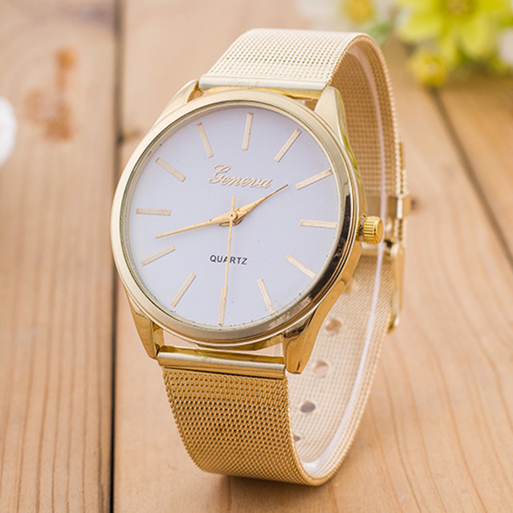 2016 High Qiality Casual Geneva Watches Women Ladies Crystal Gold Alloy Mesh Band Wrist Watch Relogio Feminino Relojes Mujer
