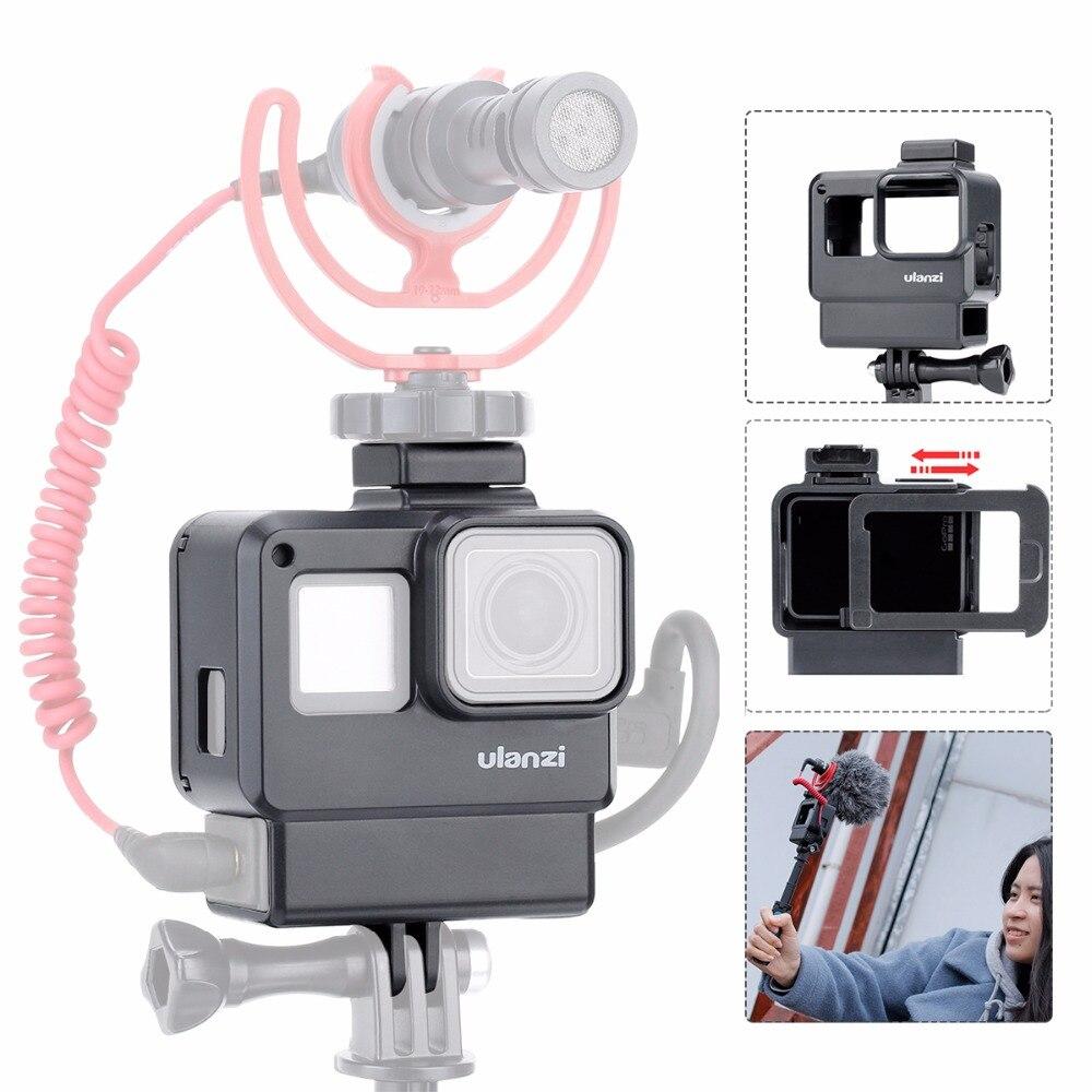 Ulanzi V2 Vlog carcasa Shell para GoPro héroe 7 Vlogging jaula marco frío de montaje para micrófono goPro Hero 5 5 5 6 6 7 Accesorios