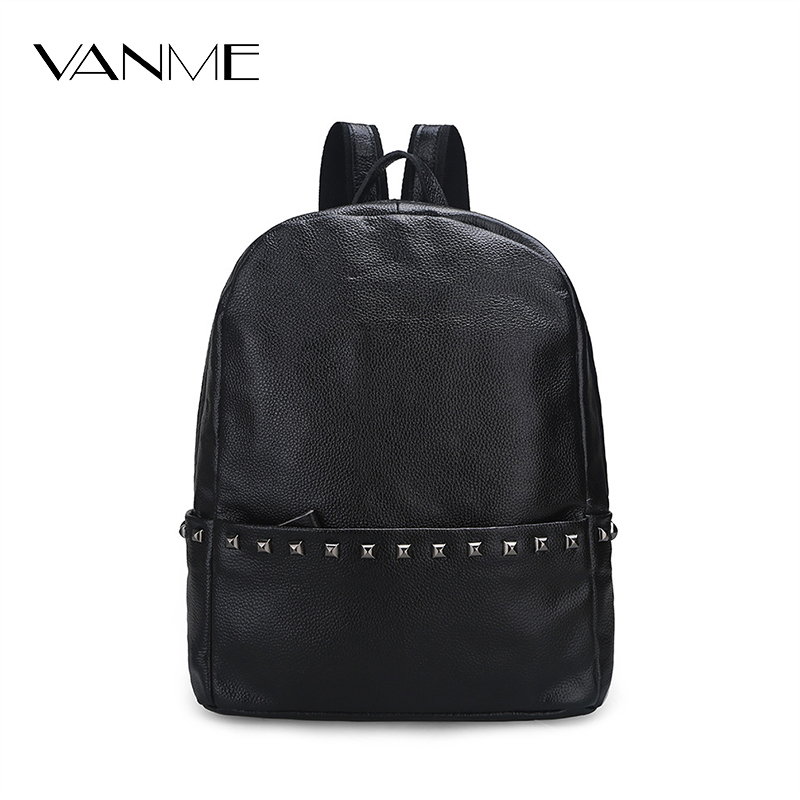 Hot New Fashion Casual Genuine Leather Women Backpack Top Rivet Leather Ladies Shoulder Bag Female Backpacks