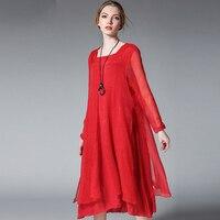 2017 wiosna projektowania mody kobiety szyfonowa luźne sukienki plus size XL-4XL eleganckich kobiet jedwabiu szyfonowa asymetryczna sukienka czerwony czarny