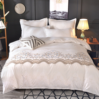 HM Life Luxury Lace Solid Color Bedding Set Duvet Cover set Pillow Cases Bed Sheet Bedclothes comforter bedding sets bed linen