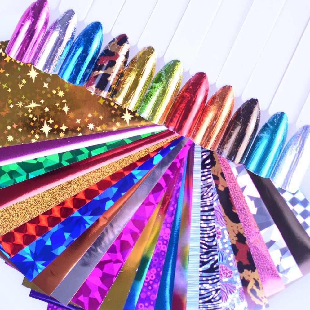 24pcs Charm ฟอยล์สำหรับเล็บ Holographic Transfer ฟอยล์สติ๊กเกอร์ Starry กระดาษตกแต่งเล็บชุดเล็บเคล็ดลับ Art