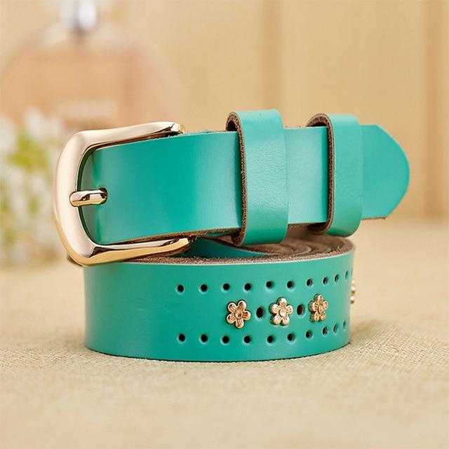 [Himunu] 100% Cinturones de Cuero Genuino para Las Mujeres de Moda Casual Hollow Out Mujeres Cinturón Vintage Pin Hebilla de Cinturón Rojo Negro Marrón