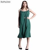 KoHuiJoo 2018 Sommer Frauen Lange Silk Kleid Schlank Solide Lose Kleidung Lässig Spaghetti Vestidos Rot Blau Grün